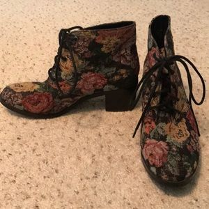 Floral lace up booties